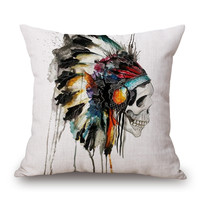 American Indian Style Peacock Feather One Side Printing Home Decor Sofa Seat Decorative Cushion Cover Pillow Case