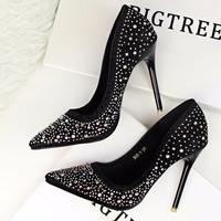 Sexy Rhinestone Platform Pumps Red Bottom High Heels Crystal Shoes