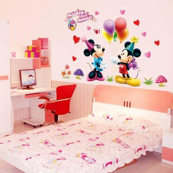 Mickey Mouse and Minnie Children Boys Girls Bedroom Wall Decals Sticker 602. Kids Nursery Room Decor Mural Removable