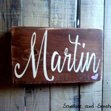 Personalized Sign, Wood Sign, Rustic Decor, Custom Family Sign, Family Name Sign, Last Name Sign, Established Date Sign,Handmade Wooden Sign