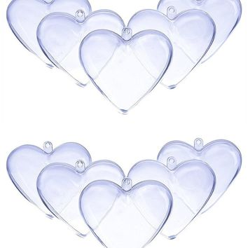 DOYOLLA 80mm Clear Plastic Acrylic Heart Shape Fillable Christmas Tree Ornaments DIY Bath Bomb Molds - Pkg of 10 (Clear)