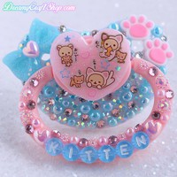 Pink and Blue Kitten Adult Pacifier