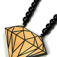 Diamond Wood Pendant