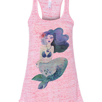 Be yourself unless you can be a mermaid, then always be a mermaid - Beautiful Nautical Mermaid racerback tank flowy running crossfit wod