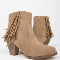 Fringed Suede Ankle Boots