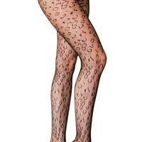 Womens Leopard Design Fishnet Pantyhose One Size Black