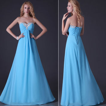 Long Formal Evening Gown Wedding Prom Dress Bridesmaid Party Strapless Dresses
