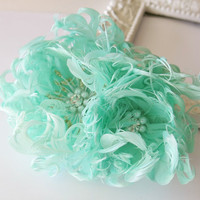 Mint Wedding Hair Flower, Feather Fascinator, Bridal Hairpiece, Wedding Hair Accessories