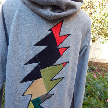 Mens Upcycled Zip Up Gray Grateful Dead Bolt OOAK Size S Small  Hippie clothes, hoodie, recycled hoodie, zip up hoodie, guys hoodie