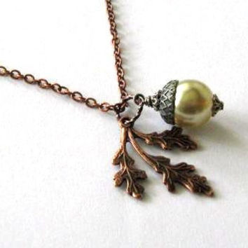 Copper oak leaf necklace with beige pearl acorn jewelry by STYR