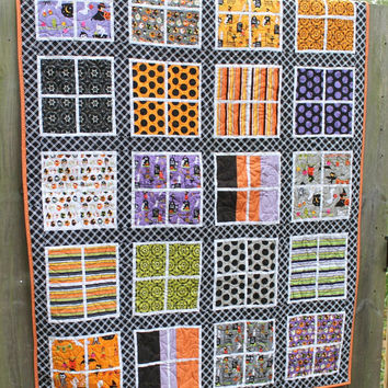Halloween Lap Quilt, Throw Quilt, Riley Blake Fabrics, Flannel Back, Long Arm Quilted, Costume Clubhouse, Black Friday