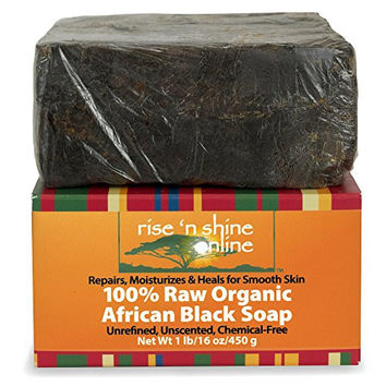 16 Oz Raw African Black Soap Bar From Ghana - FREE EBOOK - Body Wash, Shampoo & Face Wash - Authentic Organic Homemade Soap with Coconut Oil & Shea Butter - Helps Clear Skin, Acne, Eczema, Psoriasis