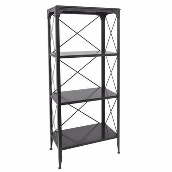 29892 Commodious Metal/Wood Shelving Unit - Benzara