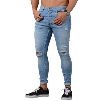 Men's Summer Skinny Stretch Denim Jeans Male Distressed Casual Long Trousers Men Ripped Straight Frayed Hole Jeans AA51427