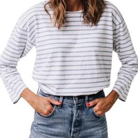 White Striped Cut Out Single Breasted Long Sleeve T-Shirt