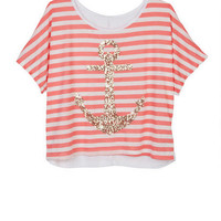 Stripe Gold Sequin Anchor Tee