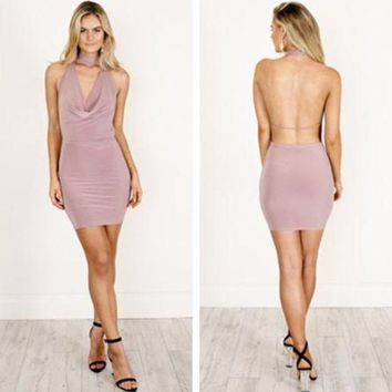 LMFONJ. Solid Color Fashion Bodycon Pack Hip Backless Deep V-Neck Sleeveless Halter Mini Dress