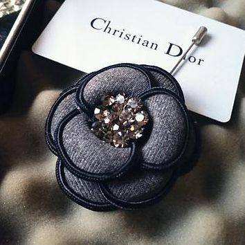 Chanel Women Fashion Flower Rhinestone Brooch Jewelry