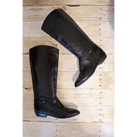 Vintage 1980s Ink Black + Leather Riding Boots | 7.5