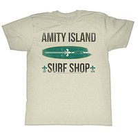 Jaws T-Shirt Amity Island Surf Shop 1975 Natural Tee