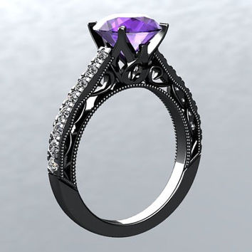 14kt Gold Black Rhodium 6.5mm Round Natural Amethyst Natural FSI1 Diamonds Engagement Ring Wedding Ring Victorian Love Inspired