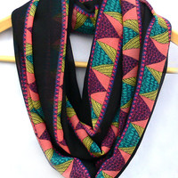 Geometric Circle Scarf. Multicolor Infinity Scarf. Loop Scarf.  Women Accessories