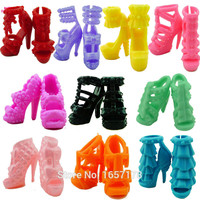 10 Pairs Different Fashion Cute Colorful Shoes Heels Sandals For Barbie Clothes Dress