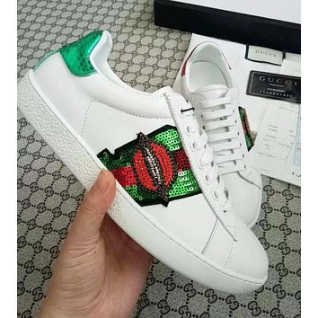 Gucci New Popular Women Men Personality Embroidery Lip Sequins Pattern Sneakers Sport Shoes I13144-170