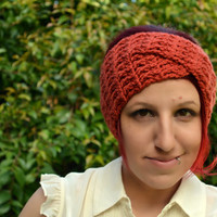 Crochet turban in rust, hairband, headband, headwrap, ear warmer