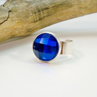 Sapphire Blue and Silver Adjustable Ring, Cocktail Ring, Adjustable Band Ring, Womens Ring