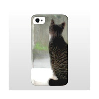 iPhone 4/4s, 5, Tabby Cat At The Window Waiting, Nature, Romantic, Love, Gentleness, Waiting For Your Call, FREE SHIPPING USA