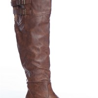 Forever Lean And Mean Aby-91 Two Buckle Tall Above The Knee Riding Boots - Brown