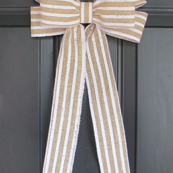 White Striped Burlap Bow, DIY Wreath Change Out, Wedding, Home Door Floral, Spring Summer Fall Winter Holiday, Rustic Shabby Chic