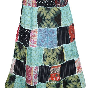 Womens Skirts Multicolored Vintage Patchwork Rayon Fashionable Skirts L