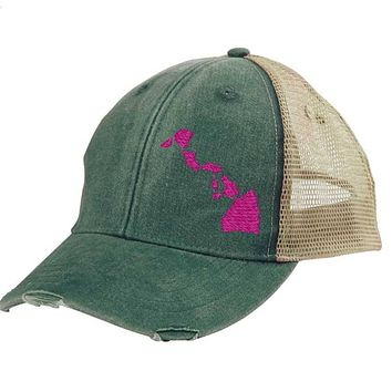 Hawaii Trucker Trucker Hat - Distressed Snapback -off-center state