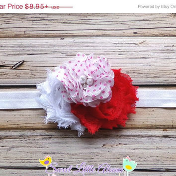 20%SALE Red White Pink Headband - Cute Baby Girl Headbands - Shabby Flower Hair Clip - Toddler Head Band - Infant Hair Bows - Newborn Photo