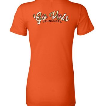 Official NCAA University of Tennessee Volunteers, Knoxville Vols UT UTK Women's GO VOLS Flower Print Ladies Favorite Tee - 36TN-5