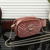 GUCCI Women Fashion Leather Waist Bag Chain Crossbody Shoulder Bag Satchel