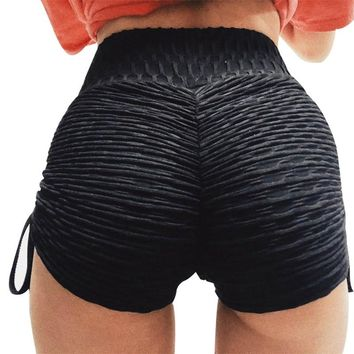 Hot Sexy Women's Yoga Shorts With Adjustable Ties Spandex Breathable Quick Dry Yoga Shorty Short Pants Fitness Bottoms