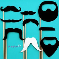 Mustache Photo Props on a Stick. 9 Unique Pieces and FREE 4x6 Poster for Photo Booth and Wedding.