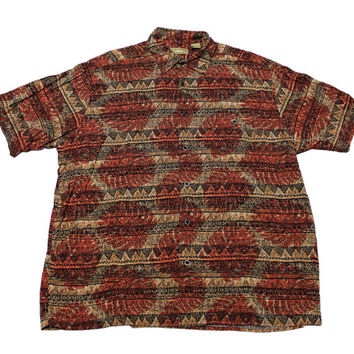 Vintage 90s Tribal Print Rayon Button Up Shirt Mens Size Large