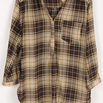 Grey Plaid Tunic w/roll-up sleeves