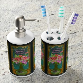 Vintage French perfume toothbrush holder set