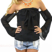 Beta Off Shoulder Long Sleeve Top Black