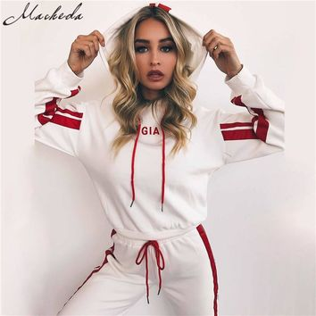 Macheda 2017 Autumn 2 Piece Set Women Tracksuit Sportswear Casual White Red Sweat Pants Hooded Cropped Sweatshirt Hoodie