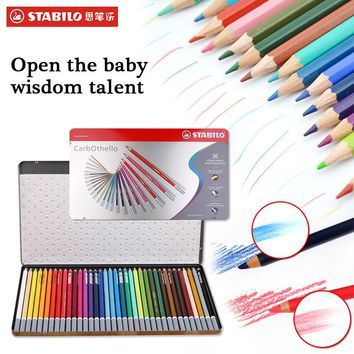 stabilo Watercolor Pen Set 12/24/36/60 Colors School Supplies Sets Safe Non-toxic Children Pencil Art Marker Drawing Set Color