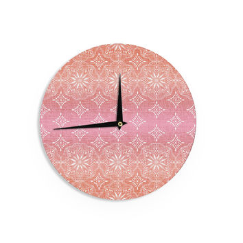 "Suzie Tremel ""Medallion Red Ombre"" Pink Wall Clock"