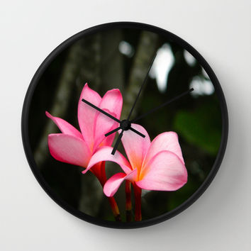 Hawaiian Flowers Wall Clock by Kelli Schneider