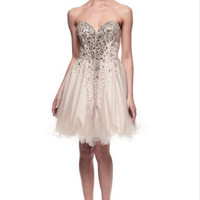 Kari Chang KC46 Silver Nude Beaded Tulle Cocktail Dress Homecoming