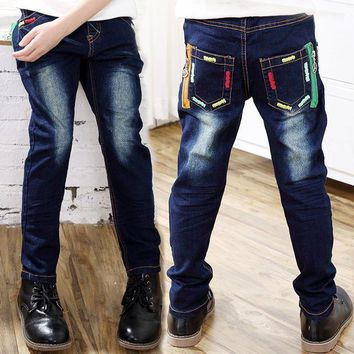 PEAP78W Spring Children Boys Jeans Solid Thin Denim Baby Boys Jeans Long Trousers Causal Pencil Pant